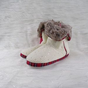 Isaac Mizrahi Knit Fur Top Slipper Bootie Shoes